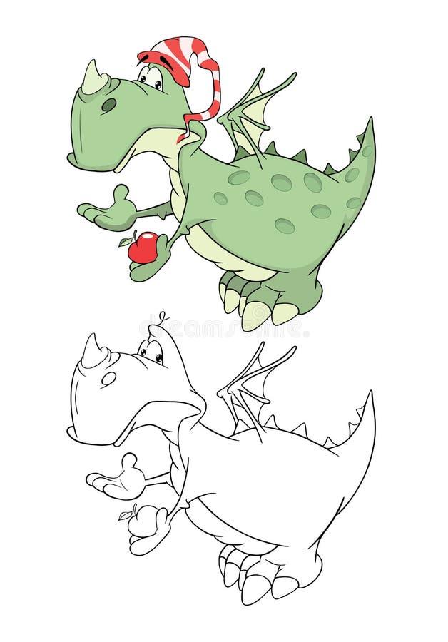 Illustration d'un dragon vert mignon le chef heureux de crabots mignons effrontés de personnage de dessin animé de fond a isolé l illustration stock