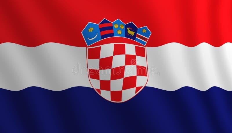 Illustration d'un drapeau croate volant éclairé de la droite illustration libre de droits