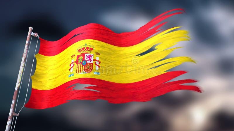 illustration 3d d'un drapeau déchiré et déchiré de l'Espagne illustration libre de droits