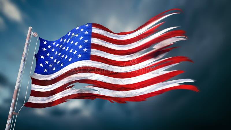illustration 3d d'un drapeau déchiré et déchiré de l'o indiqué uni illustration stock