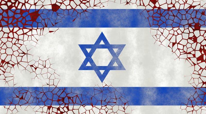 Illustration d'un drapeau israélien, imitation de la peinture sur le vieux mur avec des fissures illustration libre de droits