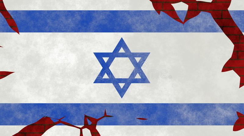 Illustration d'un drapeau israélien, imitation de la peinture sur le vieux mur avec des fissures illustration de vecteur