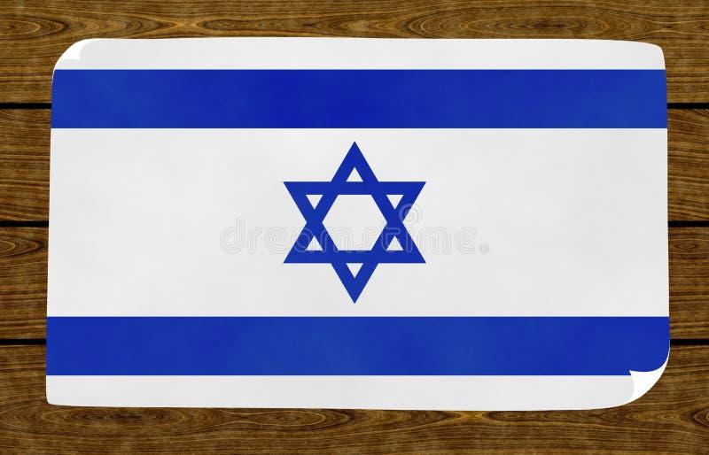 Illustration d'un drapeau israélien sur le papier collé sur le mur boisé illustration libre de droits