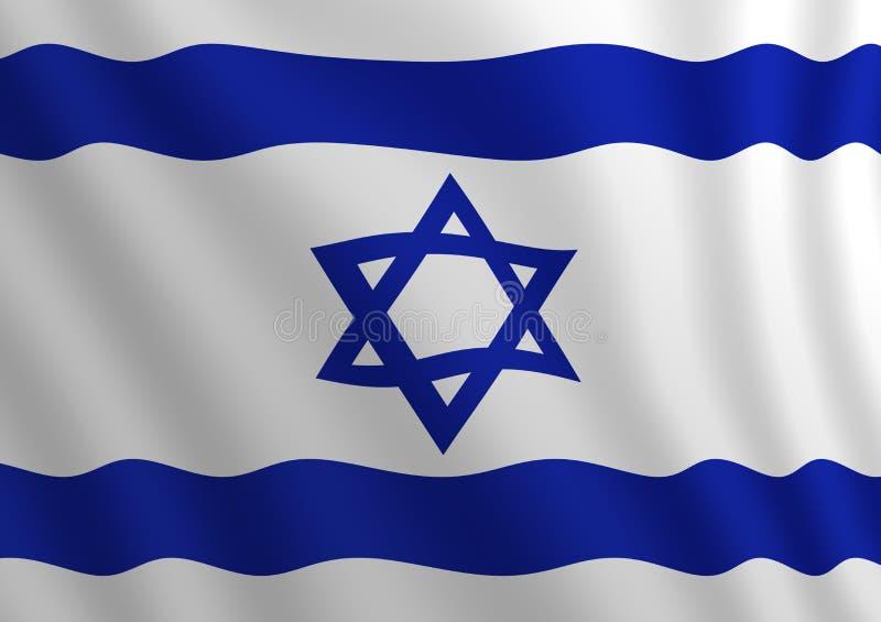 Illustration d'un drapeau israélien volant éclairé de la droite illustration de vecteur