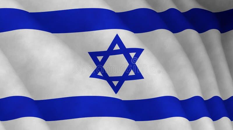 Illustration d'un drapeau israélien volant éclairé de la gauche illustration de vecteur