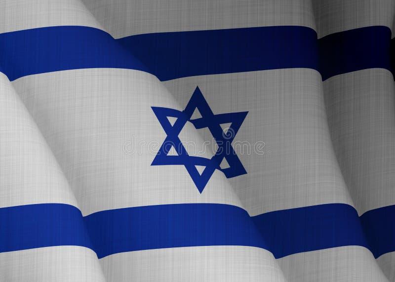 Illustration d'un drapeau israélien volant éclairé de la gauche illustration stock