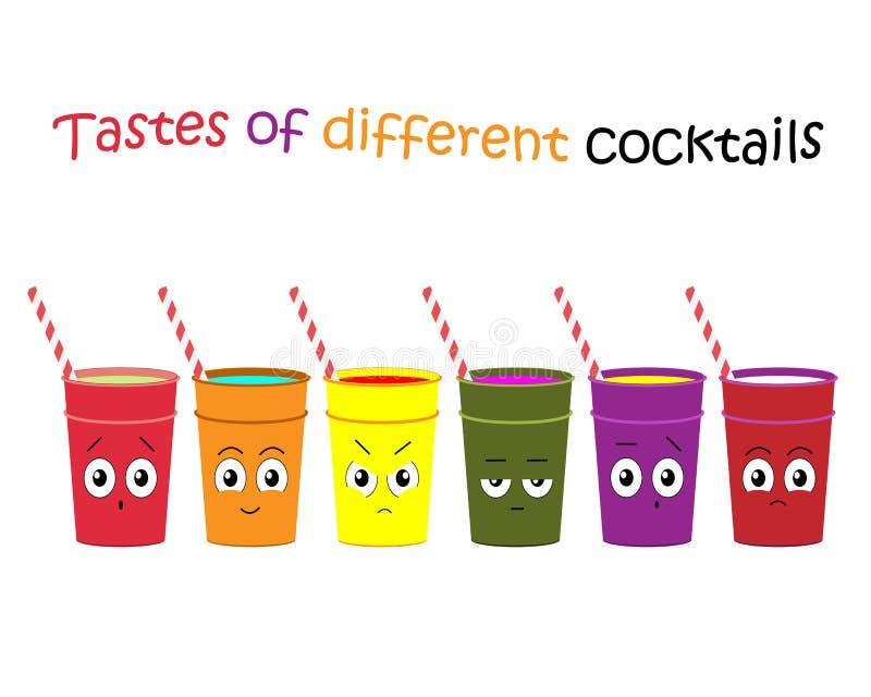 Illustration d'un ensemble de cocktails avec différentes saveurs Réaction à différents cocktails Illustration de vecteur illustration de vecteur