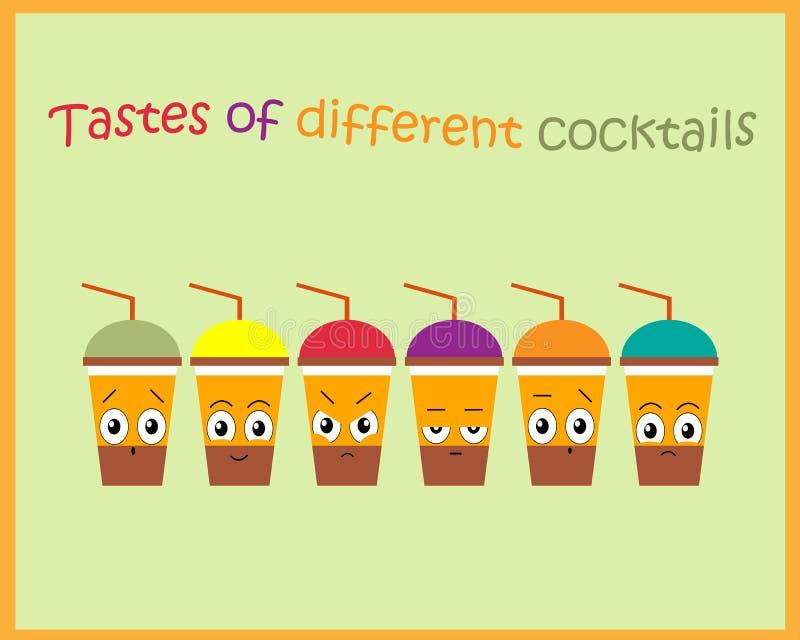 Illustration d'un ensemble de cocktails avec différentes saveurs Réaction à différents cocktails Illustration de vecteur illustration stock