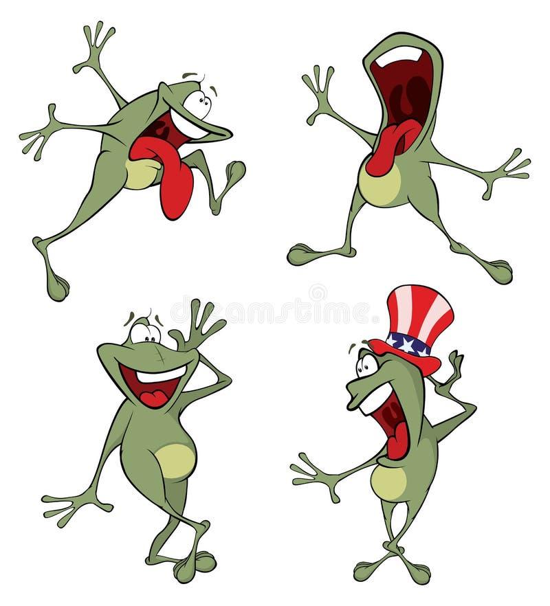 Illustration d'un ensemble de grenouille verte de bande dessinée mignonne illustration de vecteur