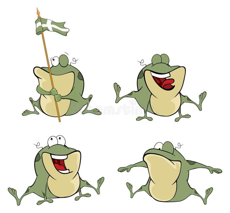 Illustration d'un ensemble de grenouilles vertes de bande dessinée mignonne illustration de vecteur