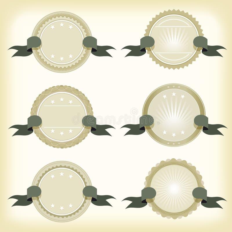 Insignes, bannières et rubans de cru illustration de vecteur