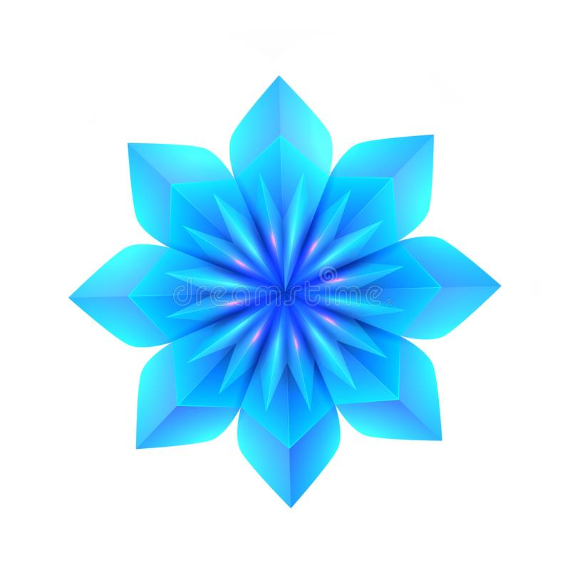 illustration 3d d'un flocon de neige bleu d'origami L'objet est séparé du fond Élément de vecteur illustration stock