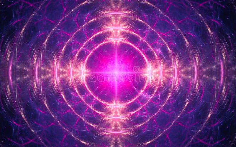 Illustration d'un fond abstrait sous forme de mod?le fantastique des anneaux concentriques de couleur rose rougeoyante avec un lu illustration de vecteur