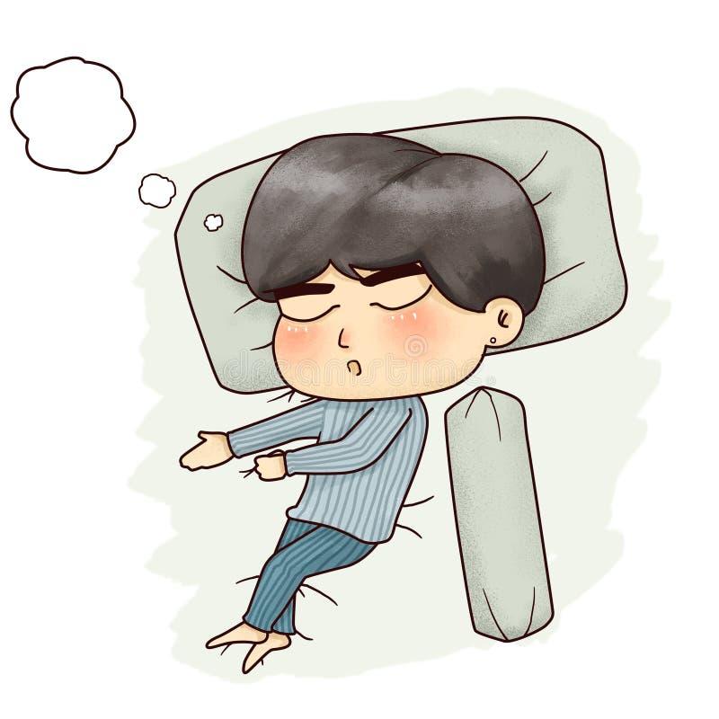 Illustration d'un garçon dormant solidement et de rêve quelque chose illustration de vecteur