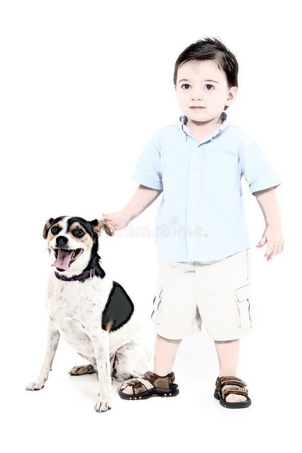 Illustration d'un garçon et de son crabot illustration de vecteur