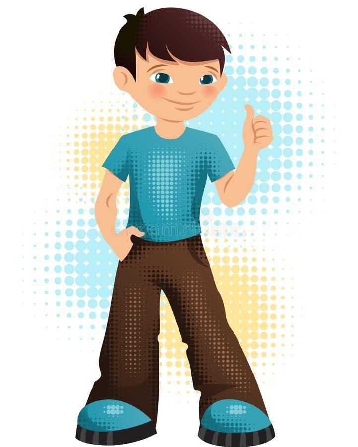 Illustration d'un garçon heureux de jeune adolescent illustration de vecteur