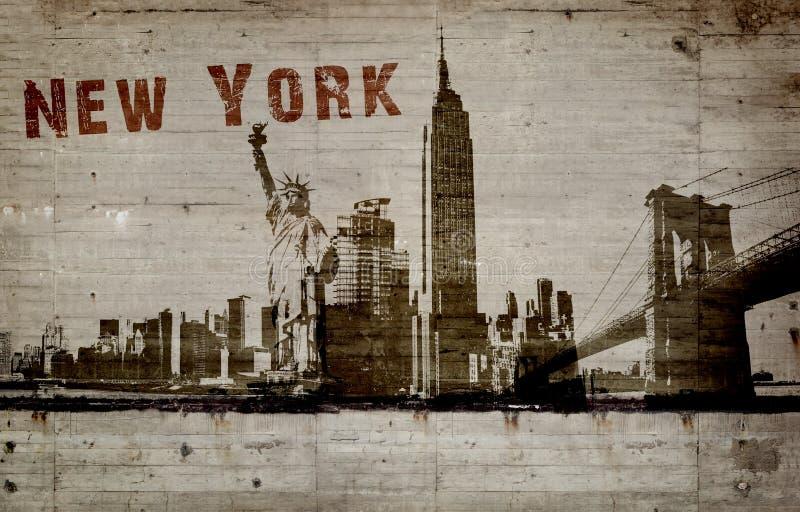 Illustration d'un graffiti sur un mur en béton de ville de New-York photos stock