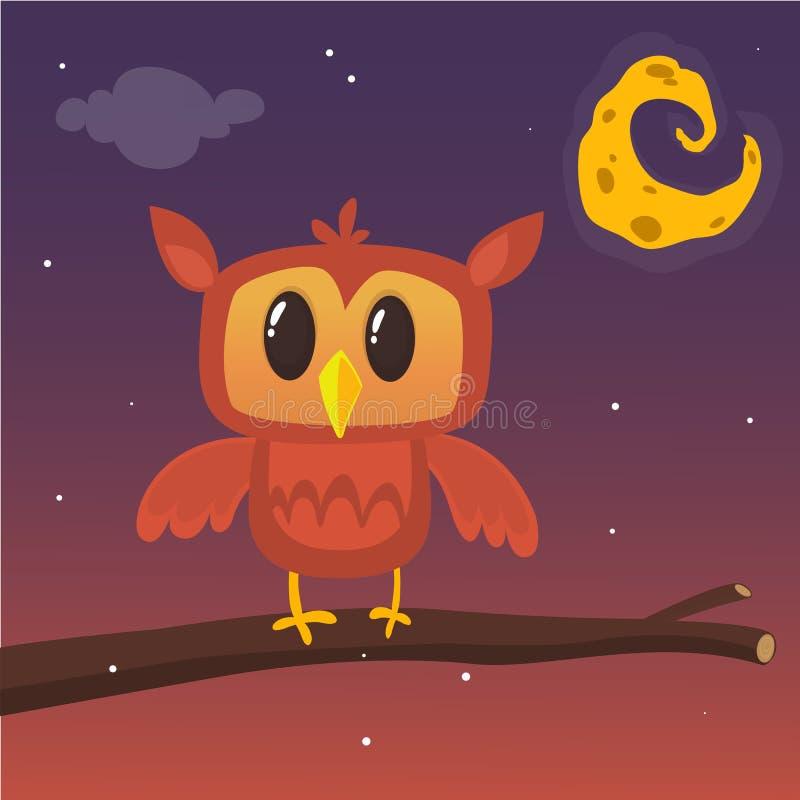 Illustration d'un grand hibou à cornes sur une branche silhouettant la pleine lune Vecteur d'ENV 10 Conception de Halloween illustration stock