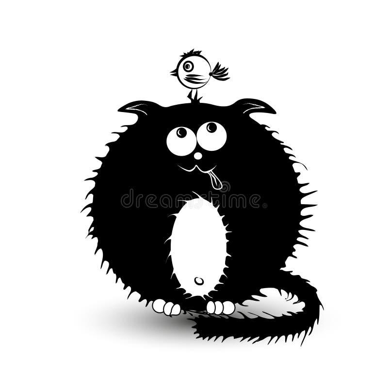 Illustration d'un gros chat noir et de l'oiseau image stock