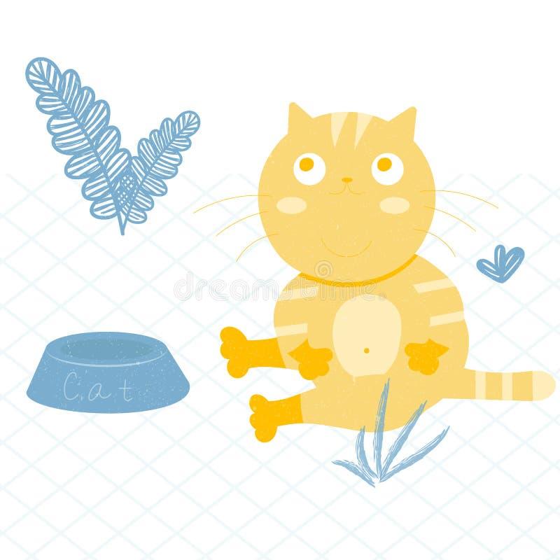 Illustration d'un gros chat rouge Se repose comme un homme illustration stock