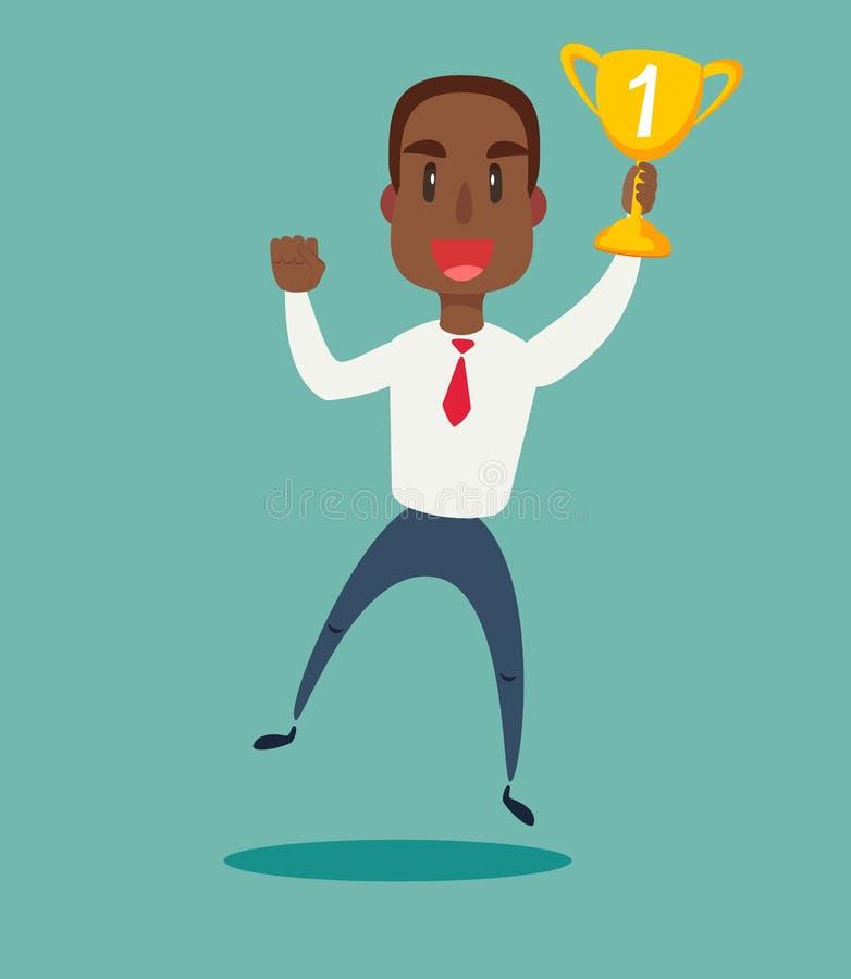 Illustration d'un homme d'affaires américain d'africain noir heureux tenant un trophée sur le podium illustration stock