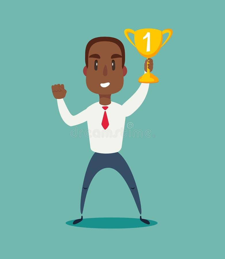 Illustration d'un homme d'affaires américain d'africain noir heureux tenant un trophée sur le podium illustration libre de droits