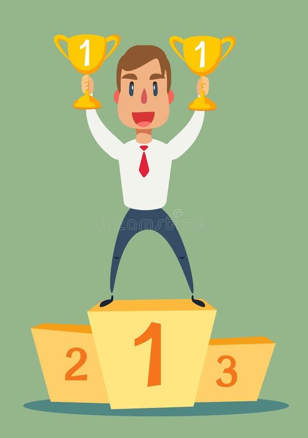 Illustration d'un homme d'affaires heureux tenant un troph?e sur le podium illustration stock