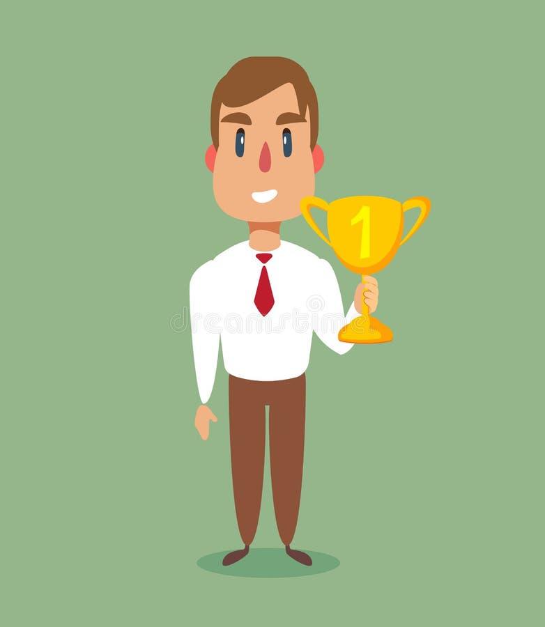 Illustration d'un homme d'affaires heureux tenant un troph?e sur le podium Illustration plate de vecteur illustration de vecteur