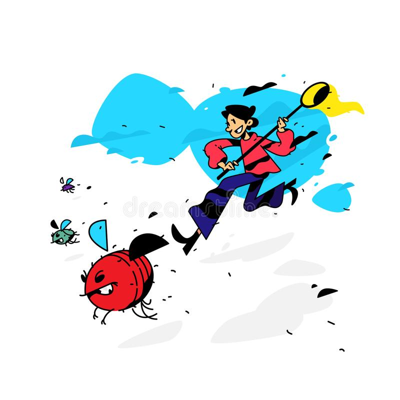 Illustration d'un homme courant avec des mouches et des scarabées Illustration de vecteur L'appareil de contrôle décèle des insec illustration de vecteur