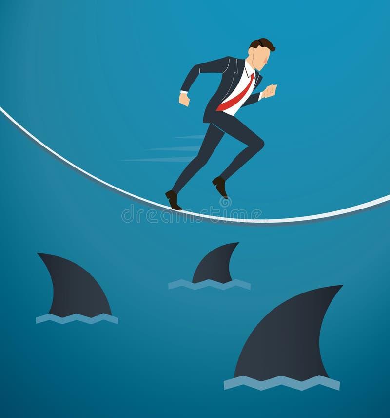 Illustration d'un homme d'affaires courant sur la corde avec des requins sous l'occasion de risque commercial illustration libre de droits