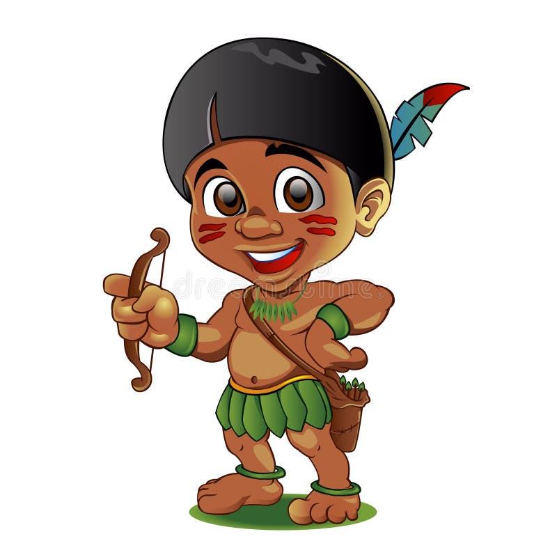 Illustration d'un Indien dur d'enfant avec l'arc dans des mains illustration stock
