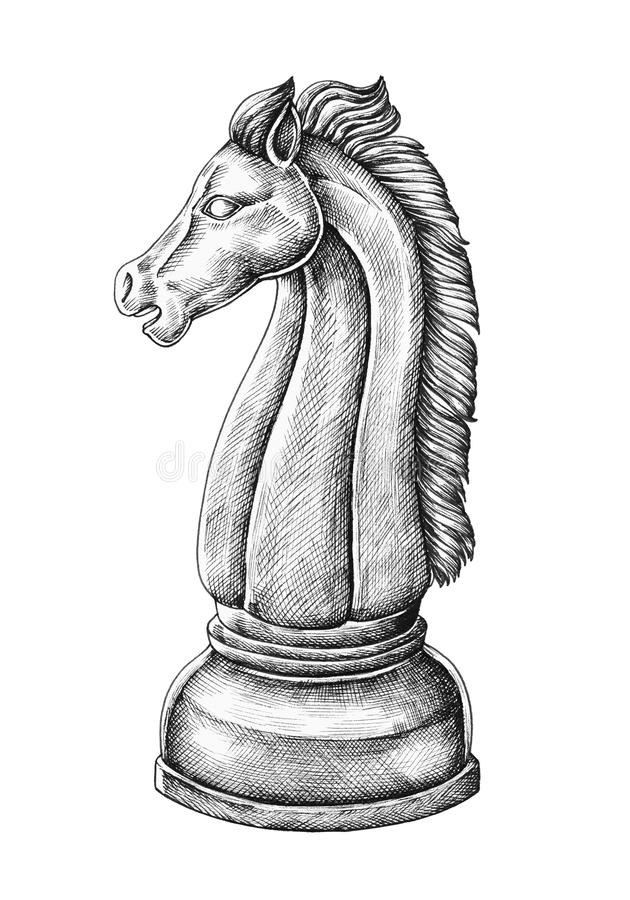 Illustration d'un joueur d'échecs de cheval illustration libre de droits
