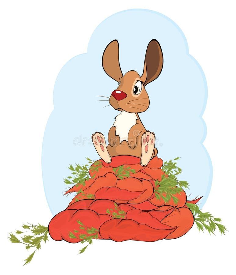 Illustration d'un lapin et d'une bande dessinée gais de carottes illustration libre de droits