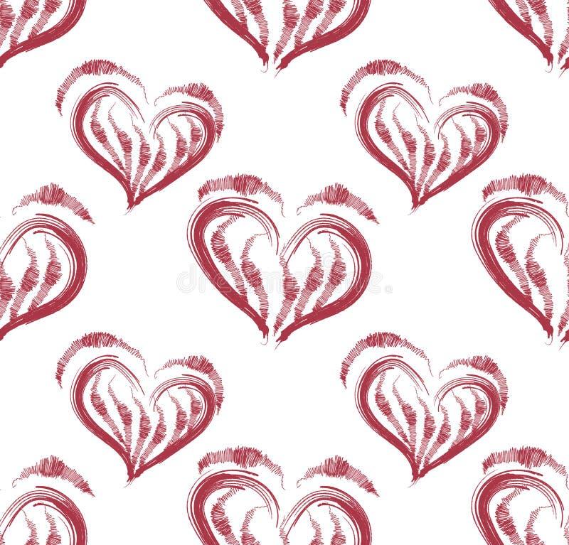 Illustration d'un modèle sans couture d'en forme de coeur rouge illustration de vecteur