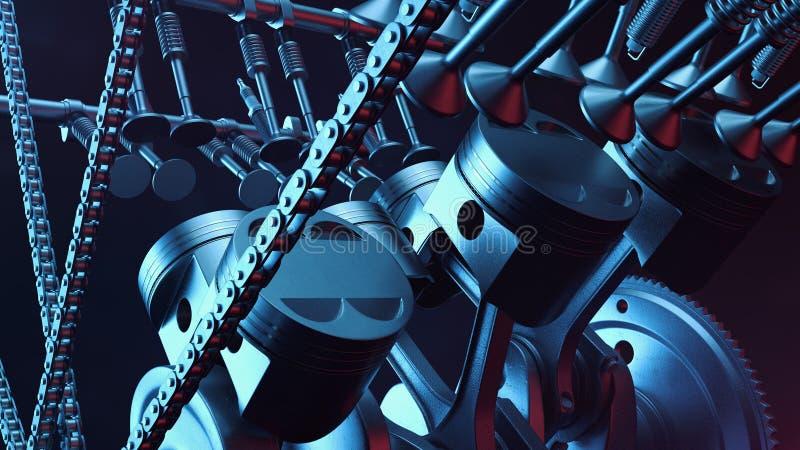 illustration 3d d'un moteur à combustion interne Pièces de moteur, vilebrequin, pistons, système d'approvisionnement en combustib photos stock