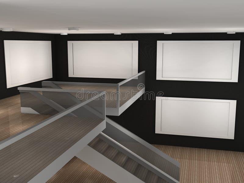 Illustration d'un musée vide avec 4 trames illustration libre de droits