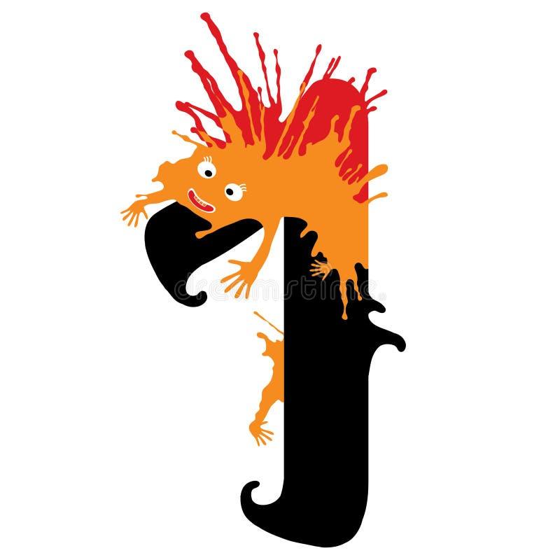 Illustration d'un nombre avec le monstre Nombres de conception réglés illustration stock