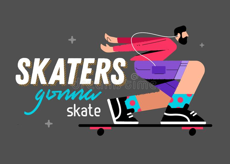 Illustration d'un patineur sur un fond gris avec les patineurs d'inscription allant patiner illustration libre de droits