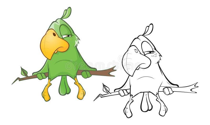 Illustration d'un perroquet vert mignon le chef heureux de crabots mignons effrontés de personnage de dessin animé de fond a isol illustration libre de droits