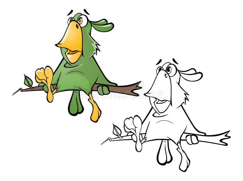 Illustration d'un perroquet vert mignon le chef heureux de crabots mignons effrontés de personnage de dessin animé de fond a isol illustration stock