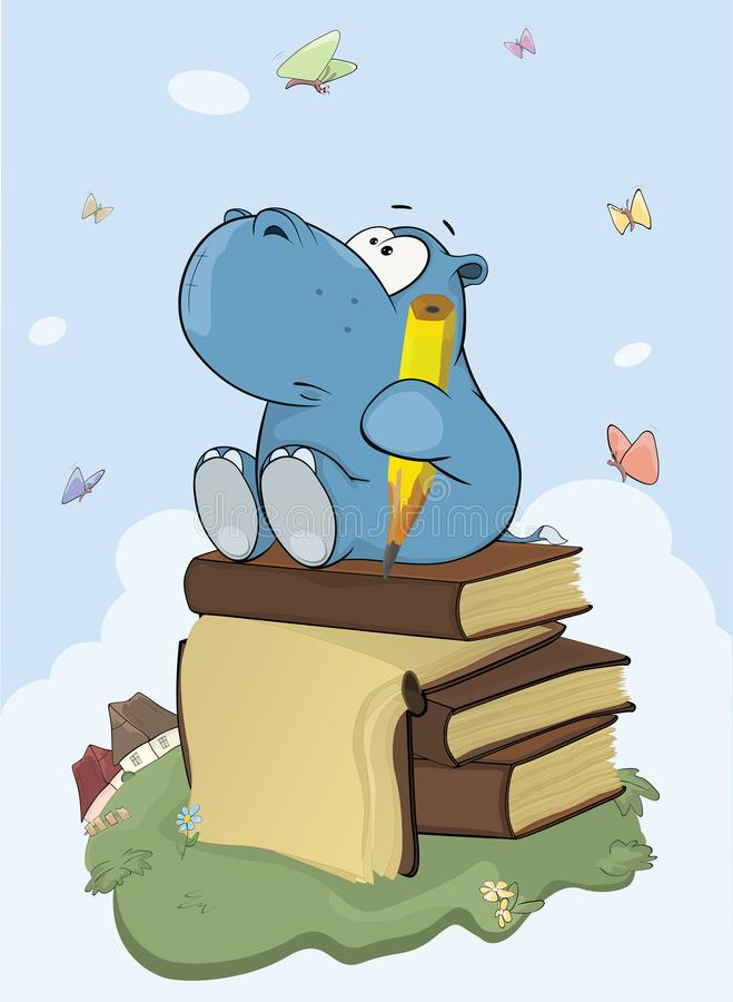 Illustration d'un petit poète mignon Cartoon d'hippopotame illustration libre de droits