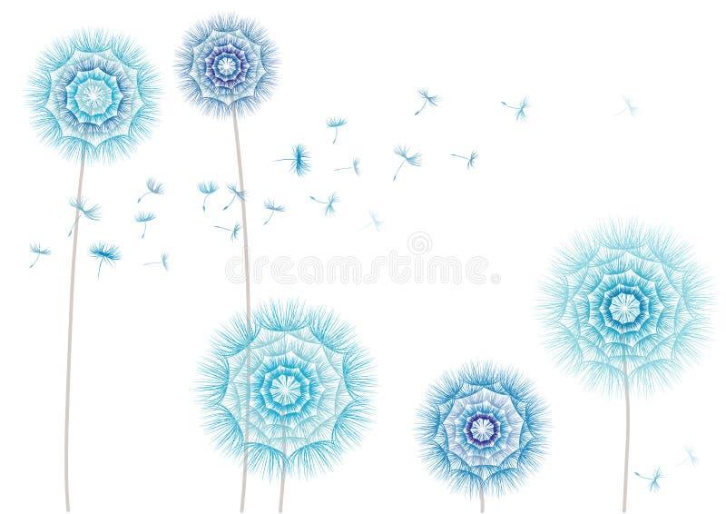 Illustration d'un pissenlit de fleur et des graines volantes sur un fond blanc illustration stock