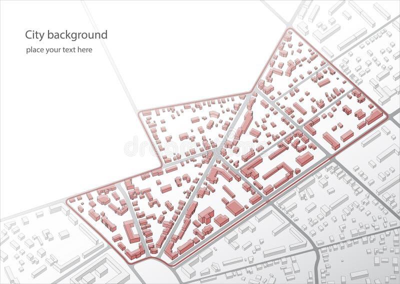 Illustration d'un plan imaginaire de secteur Un exemple des bâtiments peu élevés du vieux centre historique du ` s de ville Bu ab illustration libre de droits