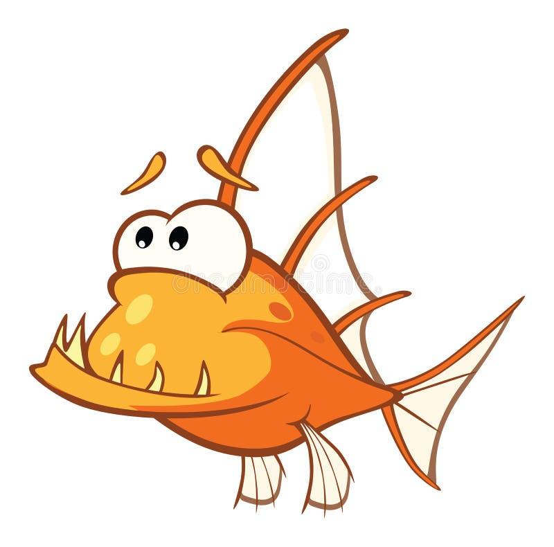 Illustration d'un poisson de moine Poissons d'eau profonde le chef heureux de crabots mignons effrontés de personnage de dessin a illustration stock