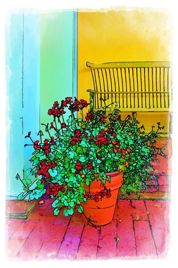 Illustration d'un pot de fleur devant Shelby Bench illustration libre de droits