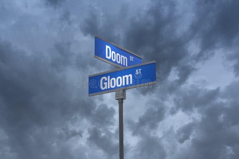 illustration 3D d'un sign_doom de rue et des rues de tristesse illustration stock