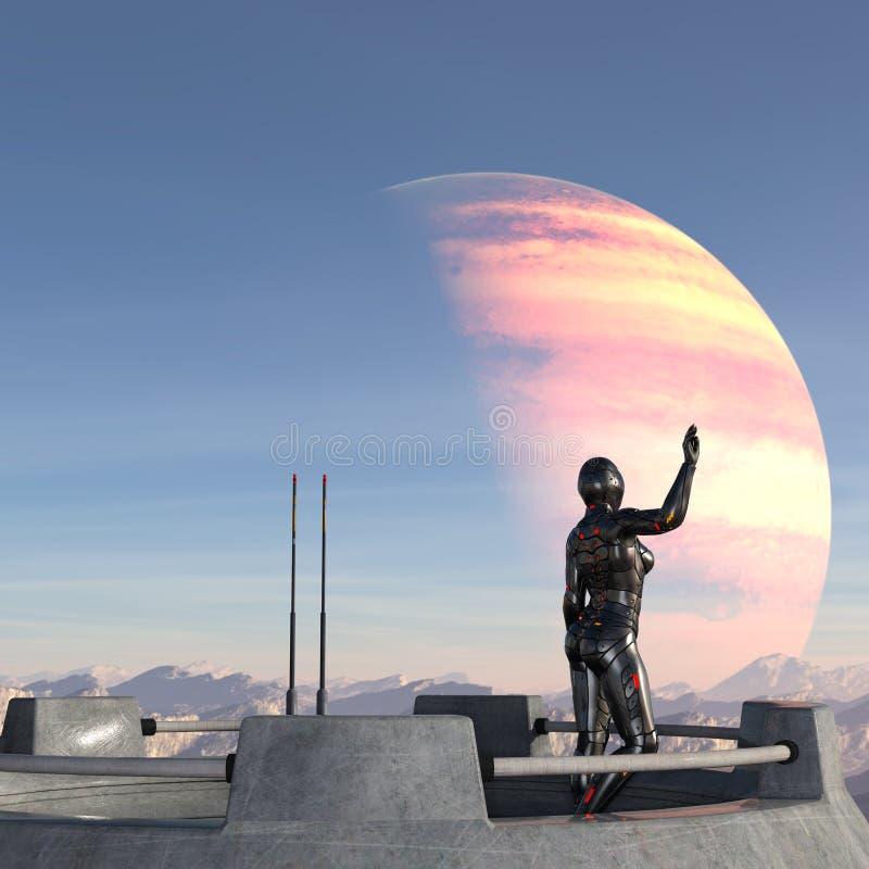 Illustration d'un soldat féminin futuriste dans la pleine position d'armure sur une plate-forme d'espace ondulant au-dessus d'un  illustration stock