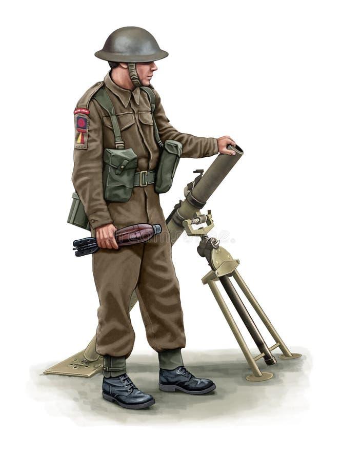 Illustration d'un soldat WW2 britannique avec un mortier illustration de vecteur