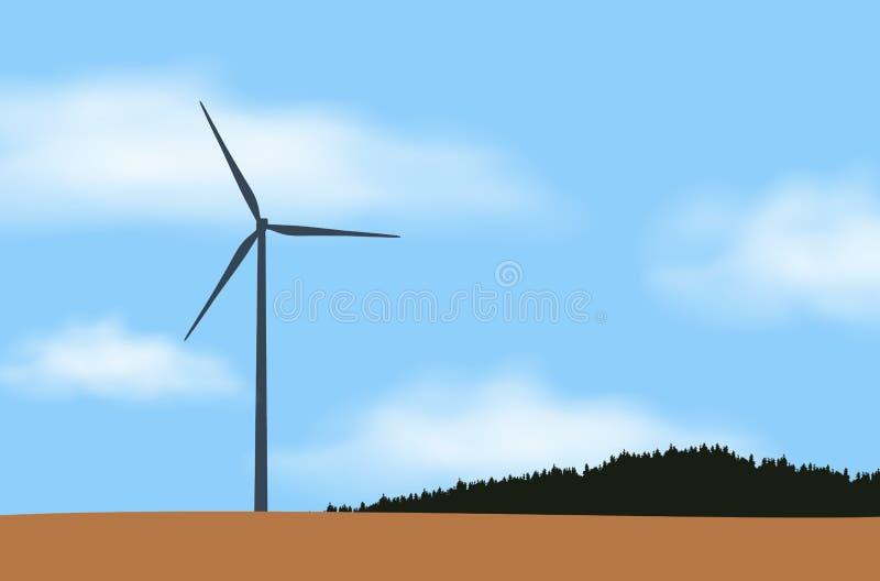Illustration d'un station et moulin à vent d'énergie éolienne, près de forêt et de champ dans la campagne sous le ciel bleu avec  illustration de vecteur