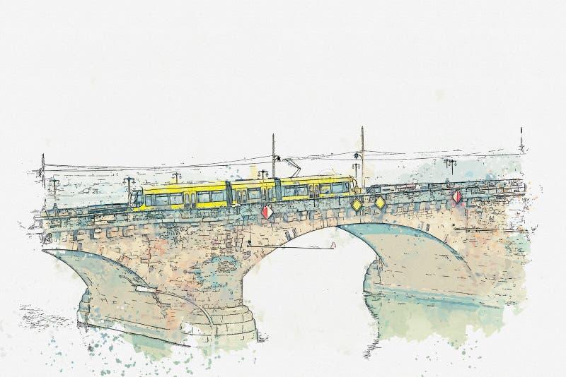 Illustration d'un tram traditionnel à Dresde photo libre de droits